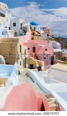 Beautiful traditional village Oia at island of Santorini, Greece - stock photo