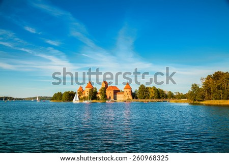 beautiful Trakai castle built in the cantre of the lake, Lithuania - stock photo