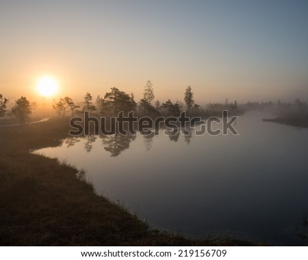 Beautiful tranquil landscape of misty swamp lake with mist and boardwalks - stock photo