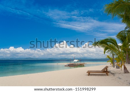 beautiful travel landscape blue hot sun sea dream sunbed palm tropical nature background holiday luxury resort island coral reef water fresh weather paradise concept postcard