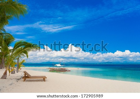 beautiful travel landscape blue hot sun sea dream sunbed palm tropical nature background holiday luxury resort island coral reef water fresh weather paradise concept postcard - stock photo