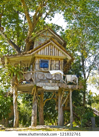 beautiful tree house (Suan Phung, Ratchaburi, Thailand). - stock photo