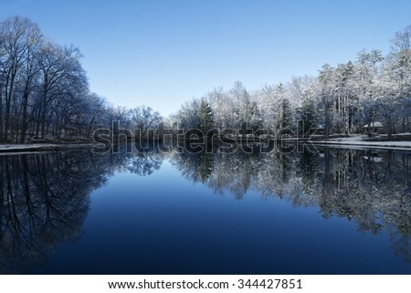 Beautiful trees with snow clinging to the branches against a bright blue sky reflecting into a calm lake. - stock photo