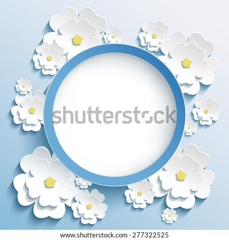 Beautiful trendy round frame with 3d white flowers sakura - japanese cherry tree. Invitation or greeting card with stylized blossoming sakura. Stylish floral modern background. Raster illustration - stock photo