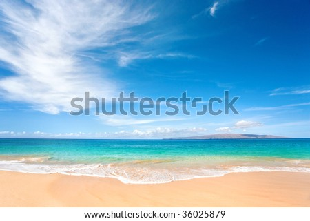 beautiful tropical background beach with nice blue water - stock photo