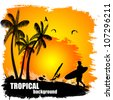 Beautiful tropical background on sunset - stock vector