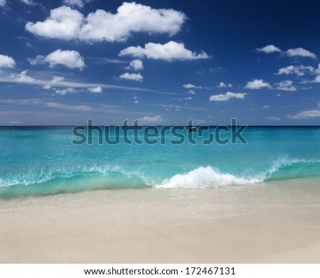 Beautiful tropical beach and blue sky.