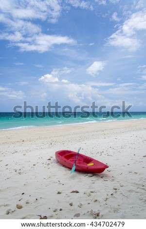 Beautiful tropical beach and blue sky sea and sky, Sand beach and Sponge water waves on beach, phuket, thailand - stock photo