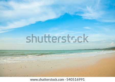 Beautiful tropical beach and sea landscape with blue sky background
