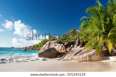 beautiful tropical beach Anse Lazio, Praslin on the Seychelles - stock photo