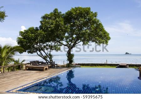 Beautiful tropical beach at island Koh Chang , Thailand. - stock photo