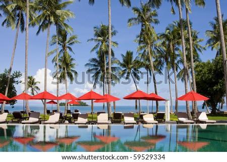 Beautiful tropical beach at island Koh Chang , Thailand . - stock photo