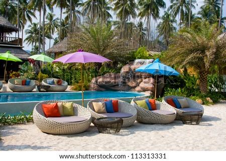 Beautiful tropical beach at island Koh Kood , Thailand . - stock photo