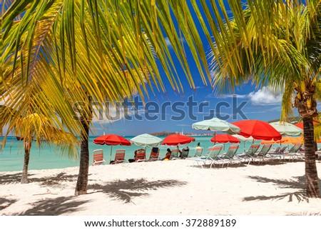 Beautiful tropical beach. Caribbean sea coast. - stock photo