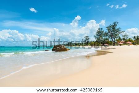 Beautiful tropical beach in Indonesia - stock photo