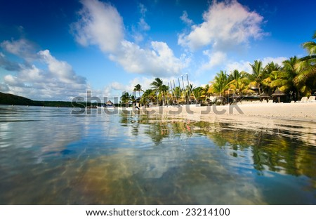 Beautiful tropical beach in luxury resort in Mauritius