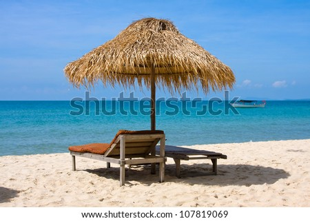 Beautiful tropical beach in Sihanoukville, Cambodia . - stock photo