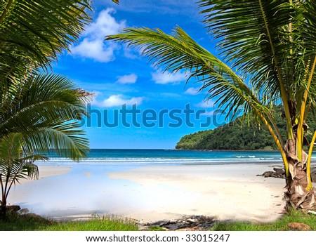 beautiful tropical beach in Thailand - stock photo