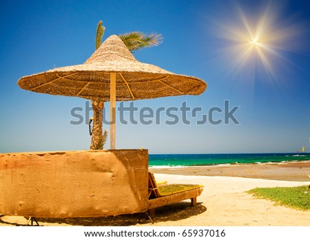 Beautiful tropical beach in the Egypt. - stock photo