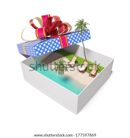 beautiful tropical beach in the gift box (creative concept)  - stock photo
