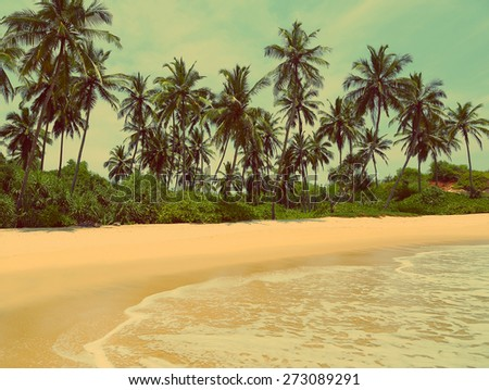 beautiful tropical beach landscape - vintage retro style - stock photo