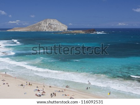 Beautiful tropical Beach, Oahu, Hawaii - stock photo