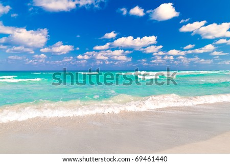 Beautiful tropical beach of Varadero in Cuba - stock photo