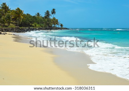 Beautiful tropical beach on a small remote Great Corn Island in the Caribbean Sea, Nicaragua. Nature and landscapes of Central America