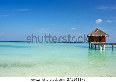 Beautiful tropical beach on exotic island at Maldives - stock photo