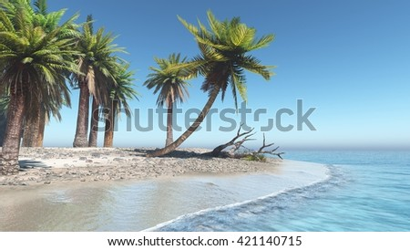 beautiful tropical beach, palm trees on the beach, banner, 3D rendering - stock photo