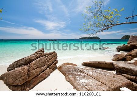 Beautiful tropical beach seascape. Lipe island, Thailand. - stock photo