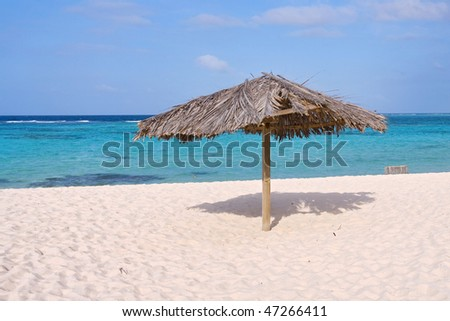 Beautiful tropical beach shoreline with a palm covered hut. - stock photo