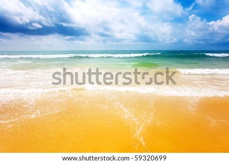 Beautiful tropical beach. Thailand - stock photo