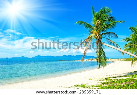 Beautiful Tropical beach vacation background - stock photo