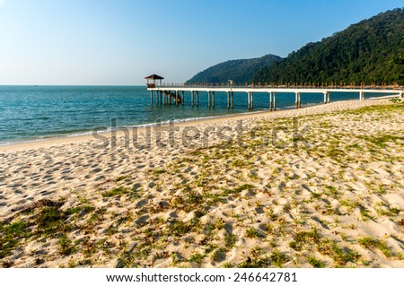 Beautiful tropical beach with jetty and blue sky - stock photo
