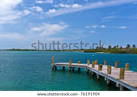 Beautiful tropical beach with palm trees - stock photo