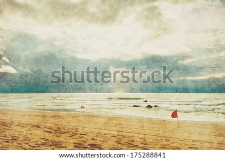 Beautiful tropical beach with  sea view, clean water & blue sky in retro style . Nature background - stock photo