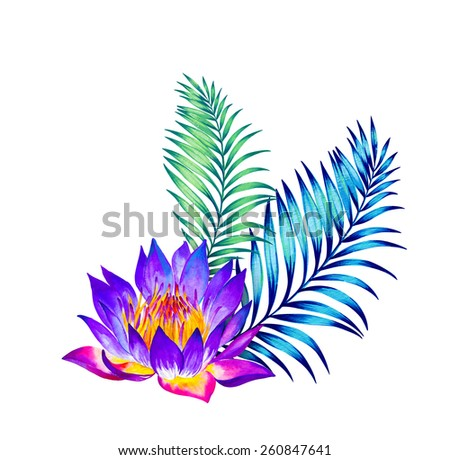 beautiful tropical bouquet isolated on white. lotus and philodendron palm. watercolor illustration. - stock photo