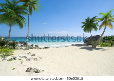 Beautiful tropical deserted beach with palmtrees and a blue sea - stock photo