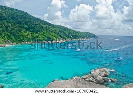 Beautiful tropical emerald sea in Thailand - stock photo