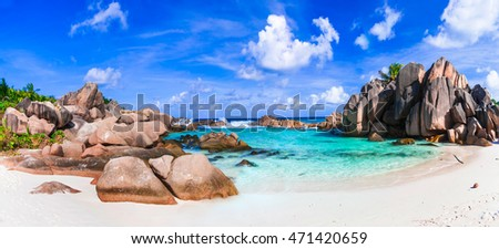 beautiful tropical exotic beach Anse Cocos, La Digue island, Seychelles