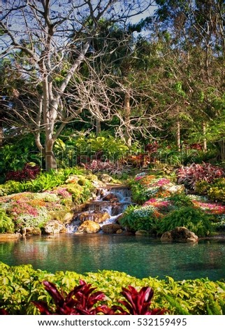 Beautiful tropical garden and lake in Orlando Florida USA