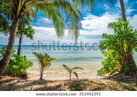 Beautiful tropical island beach - Koh Kood, Trat Thailand - stock photo