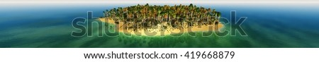 beautiful tropical island in the ocean, panorama, banner, 3D rendering - stock photo