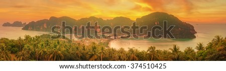 Beautiful Tropical island with resorts - Phi-Phi island, Krabi Province, Thailand - stock photo