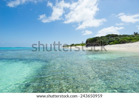 Beautiful tropical lagoon full of crystal clear water and healthy coral next to idyllic white sand beach with some greenery in Okinawa, Japan - stock photo
