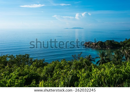 Beautiful tropical landscape from view point of Koh Phangan, Thailand - stock photo