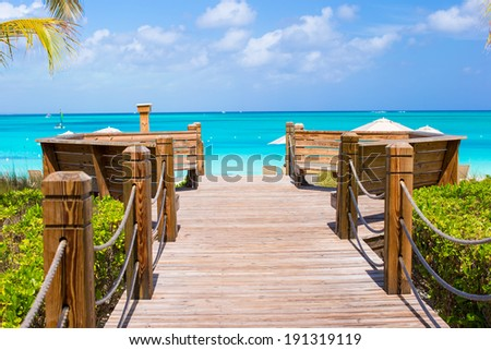 Beautiful tropical landscape on Providenciales Island in the Turks and Caicos, Caribbean - stock photo
