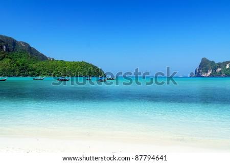 Beautiful tropical landscape. Phi-Phi Island, Thailand. - stock photo
