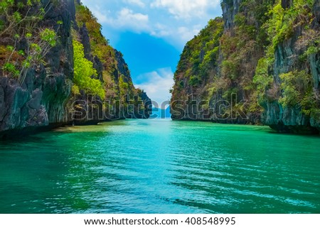 Beautiful tropical landscape with blue lagoon and mountain islands, El Nido, Palawan, Philippines - stock photo
